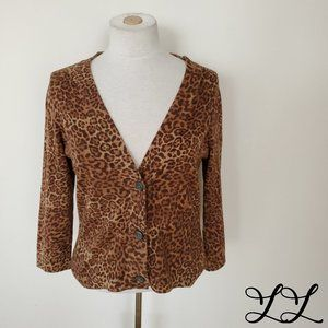 CHAPS Cardigan Sweater Leopard Print Cropped Brown